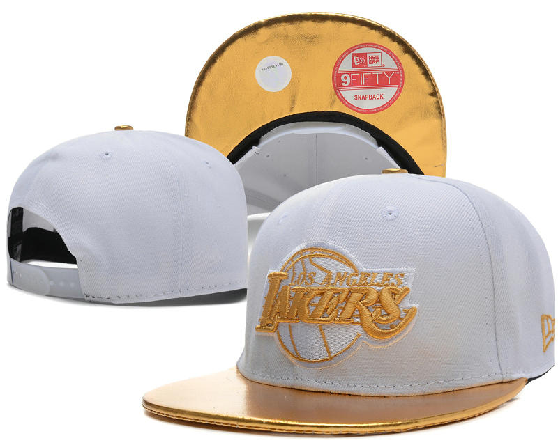 Los Angeles Lakers White Snapback Hat SD